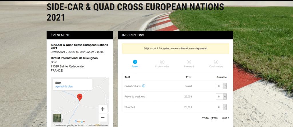 Site weezevent près-vente nations Side-car & Quad 2021 MCDG
